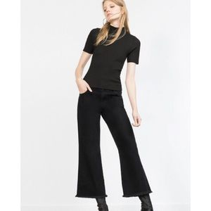 Zara Black Retro Flare Cropped Denim Pant